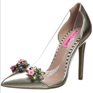 Betsey Johnson Clear & Gold, Jeweled Pumps 6.5M